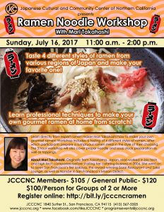 Ramen Noodle Workshop with Mari Takahashi @ JCCCNC | San Francisco | California | United States