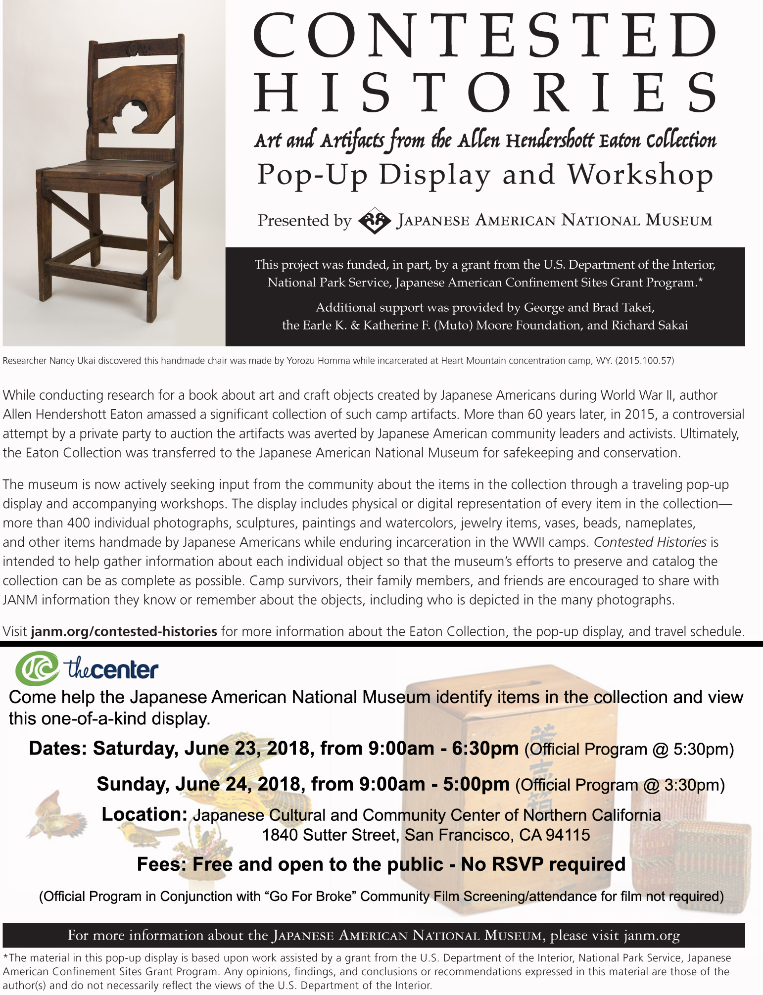 Contested Histories Pop-Up Display and Workshop @ Japanese Cultural and Community Center of Northern California | San Francisco | California | United States