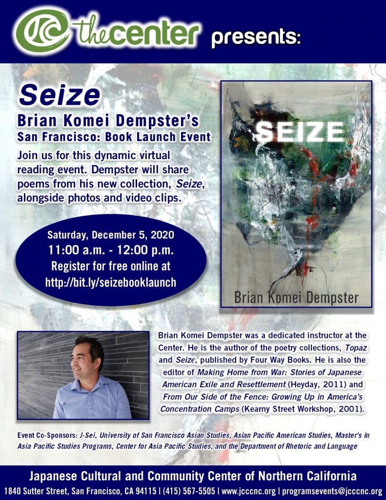 Seize - Book Launch with Author Brian Komei Dempster @ Online via Zoom webconferencing