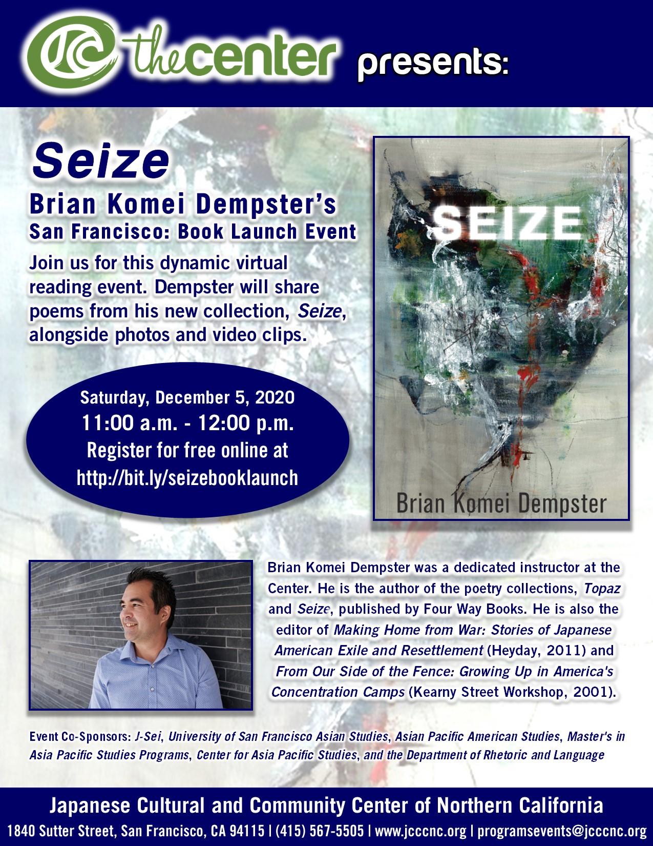 Seize by Brian Komei Dempster – Virtual Book Launch