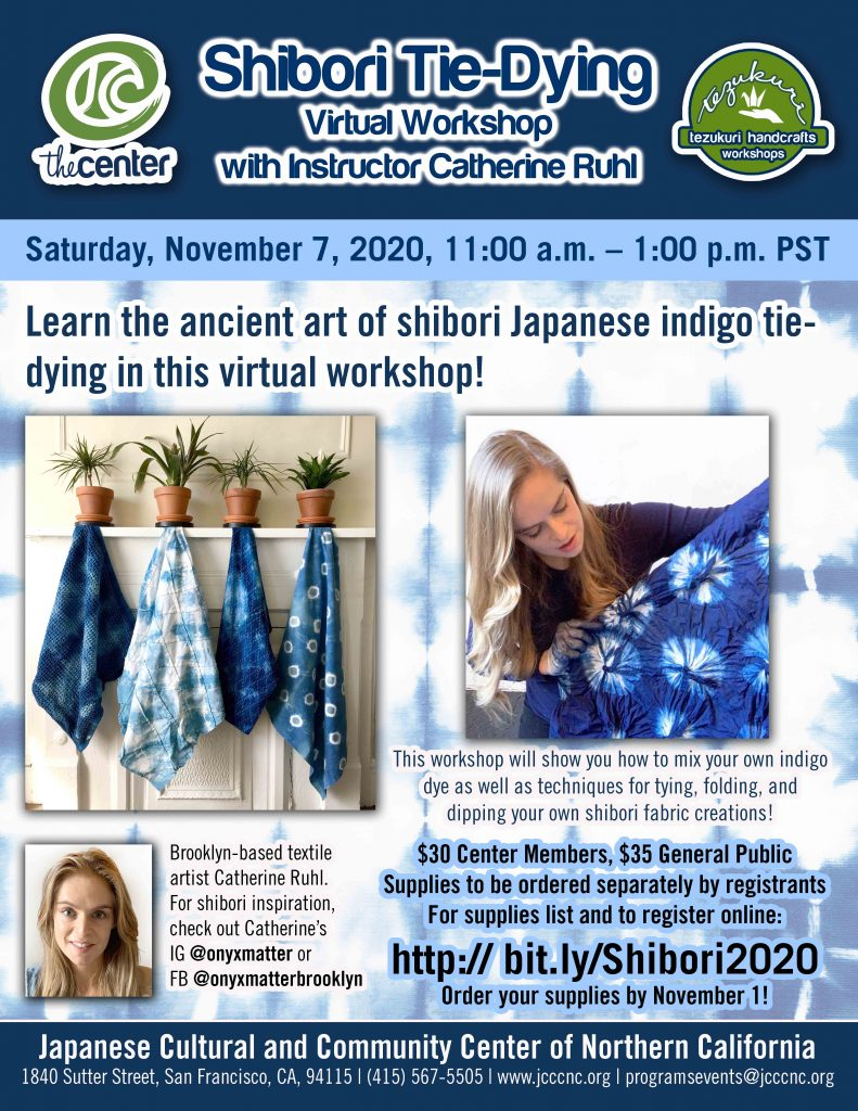 Shibori Tie-Dyeing VIrtual Workshop @ Online via Zoom webconferencing