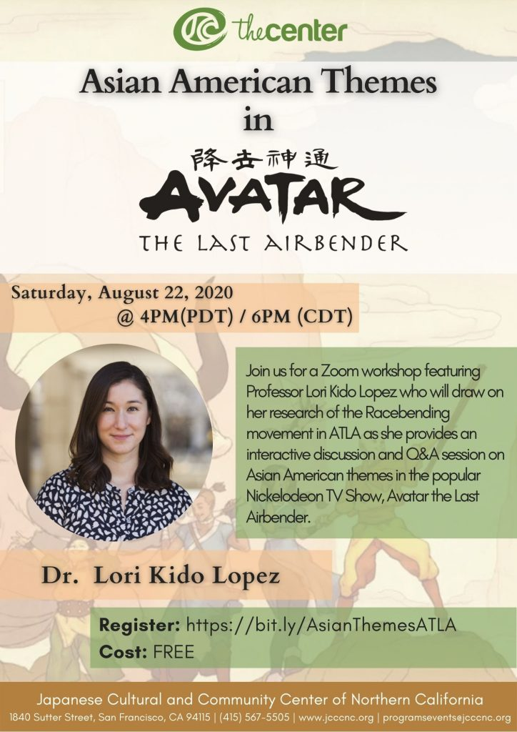Webinar: Asian American Themes in Avatar the Last Airbender @ Online via Zoom webconferencing