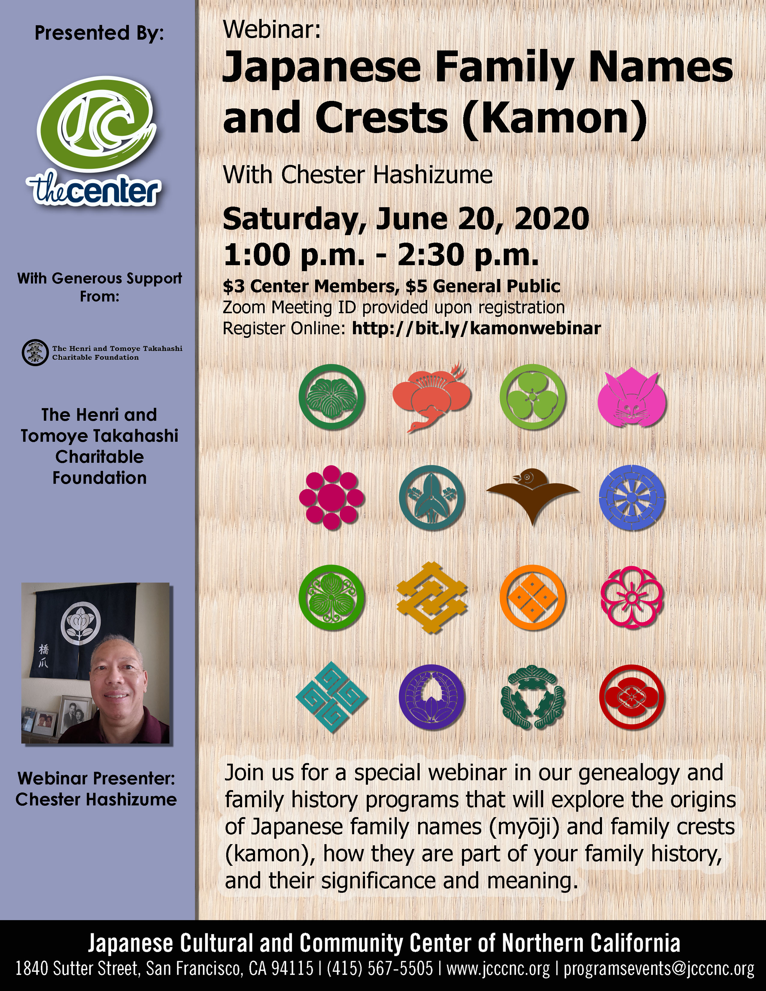 """""""Your Family, Your History"""" Japanese American Genealogy Webinar Series Session 4 – Japanese Family Names and Crests (Kamon) with Chester Hashizume – 6/20/20"""