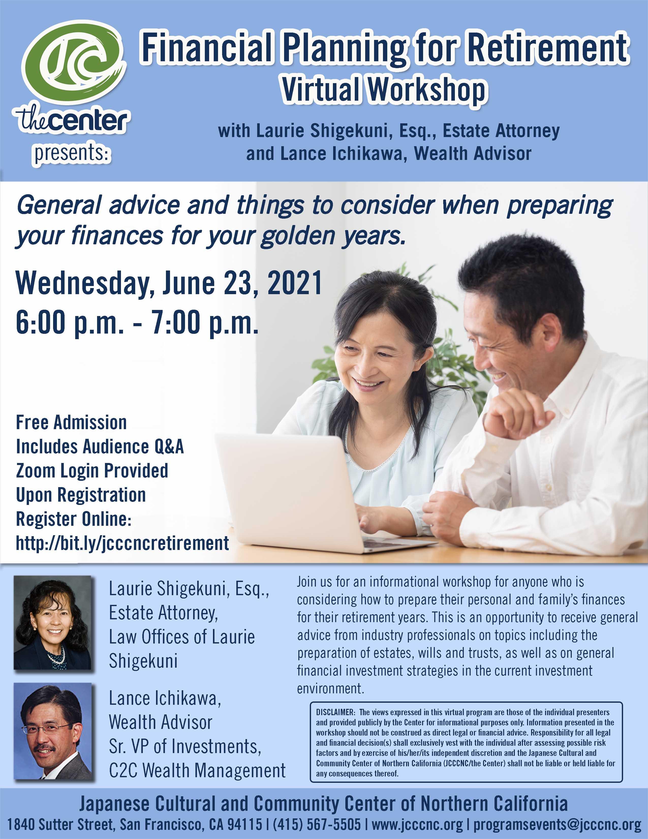 Financial Planning for Retirement Virtual Workshop with Estate Attorney Laurie Shigekuni and Wealth Advisor Lance Ichikawa