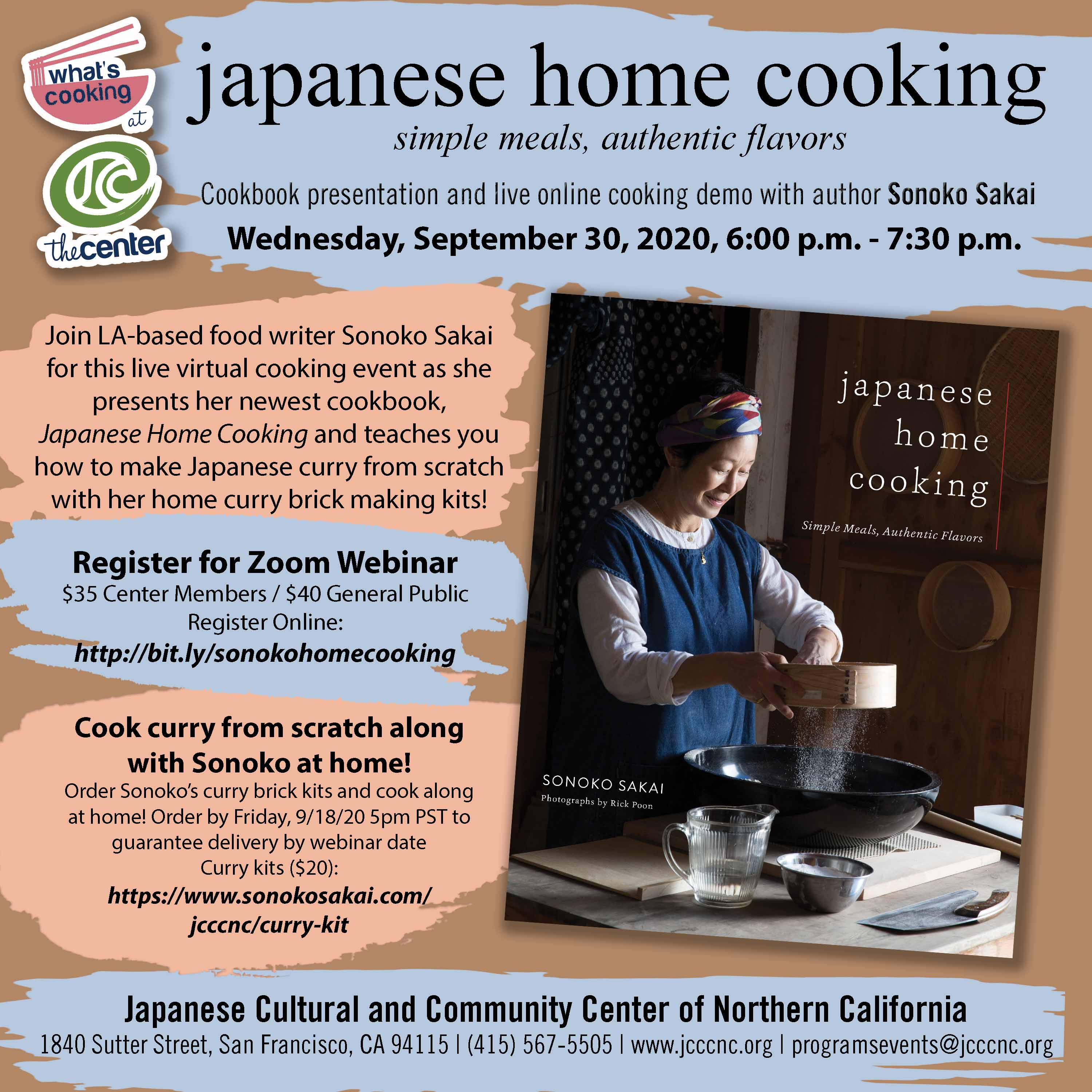 Japanese Home Cooking with Sonoko Sakai – Cookbook Presentation and Live Cooking Demo