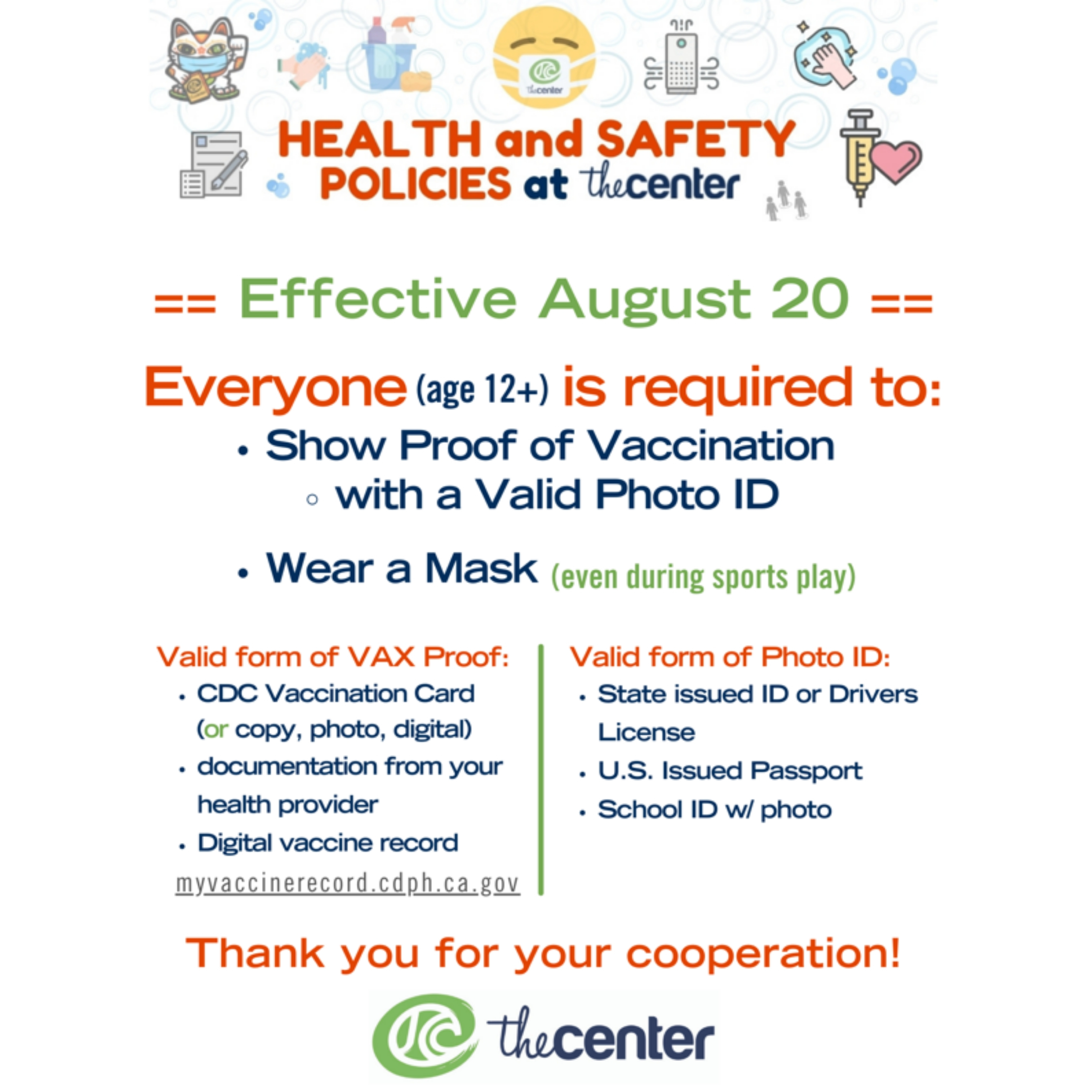 Proof of Vaccination with Valid Photo ID Required